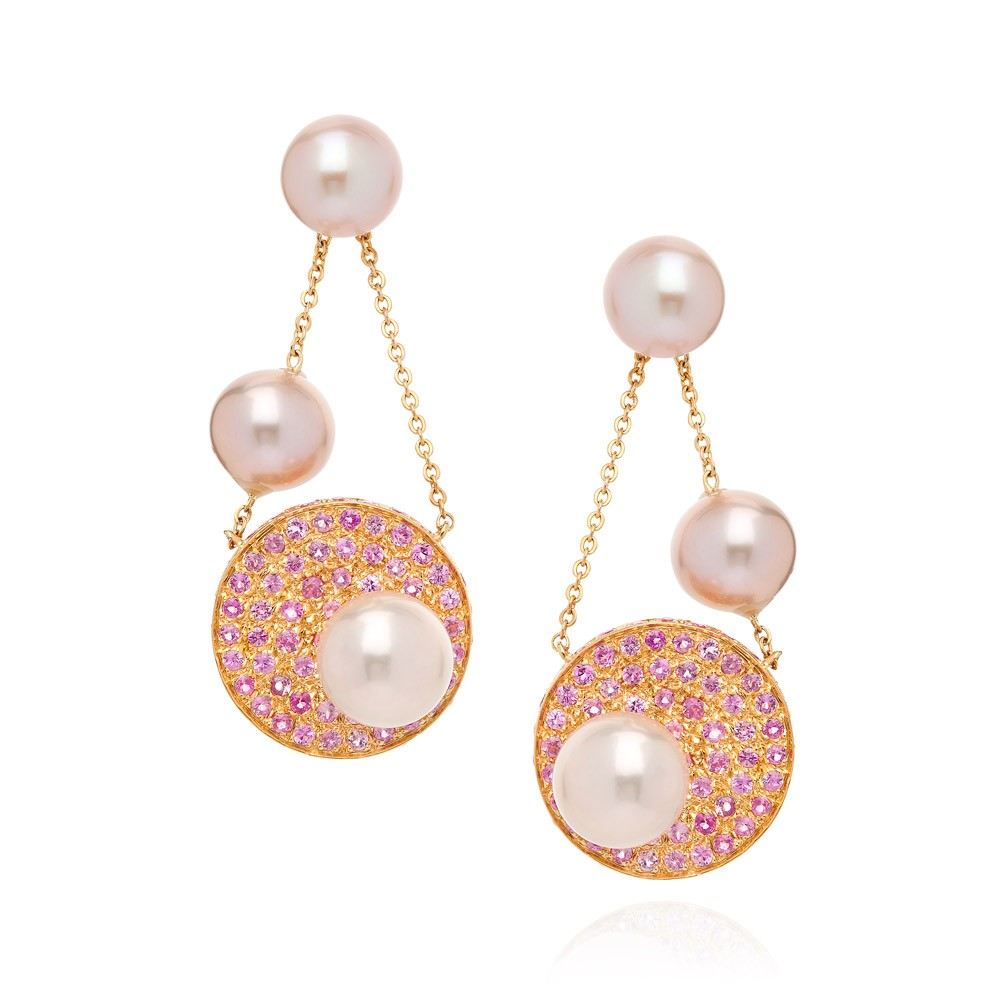 Disc Earrings – Pink Sapphires And Fancy Pearls 18k Gold