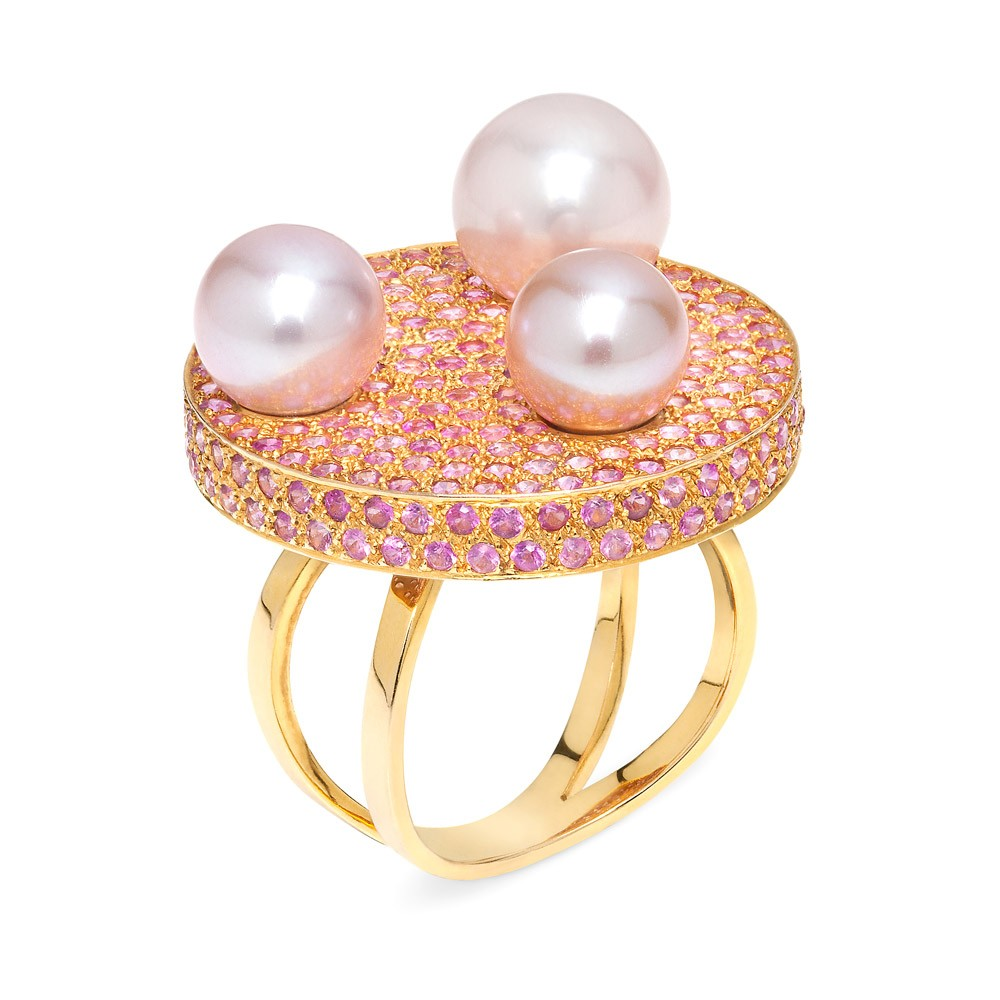 Saengduan Disc Ring – Pink Sapphires And Fancy Pearls 18k Gold