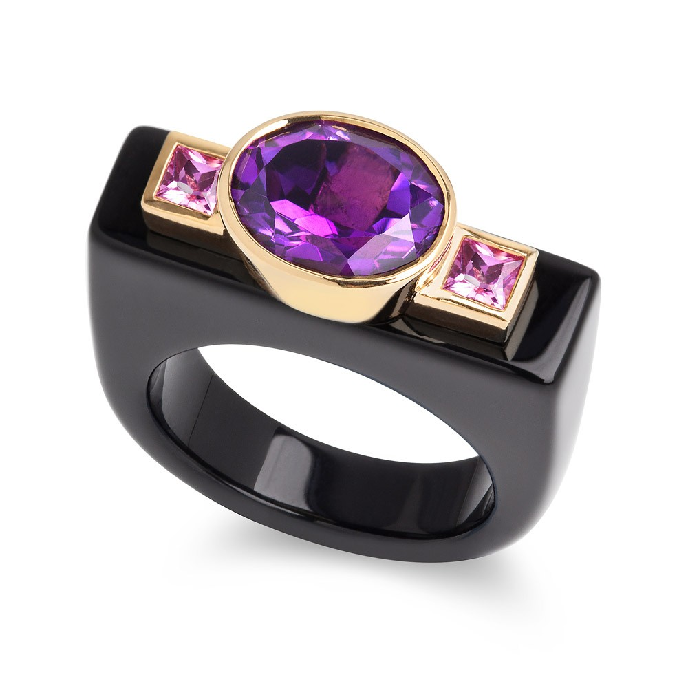 Dolce Vita Ring – Amethyst, Pink Sapphires And Onyx 18k Gold