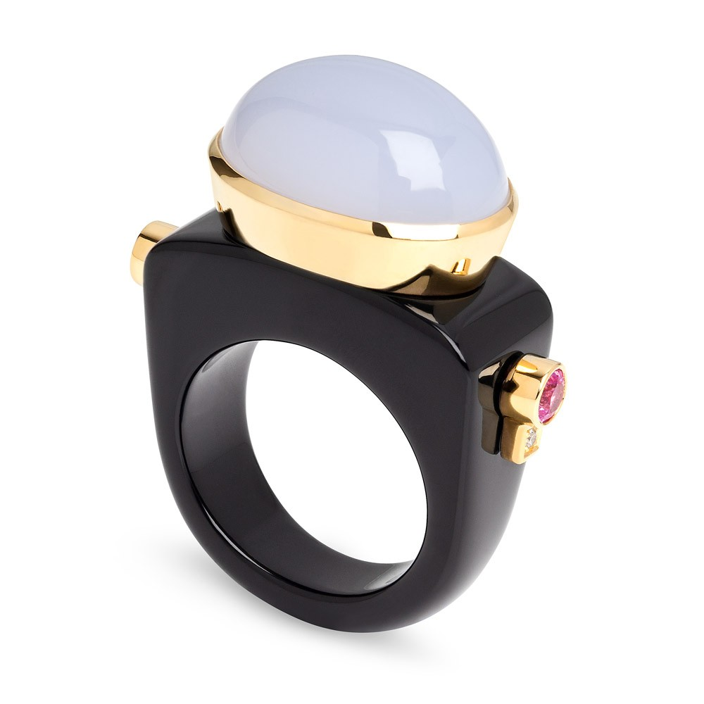 Dolce Vita Ring – Blue Chalcedony, Pink Sapphires, Diamonds And Onyx 18k Gold