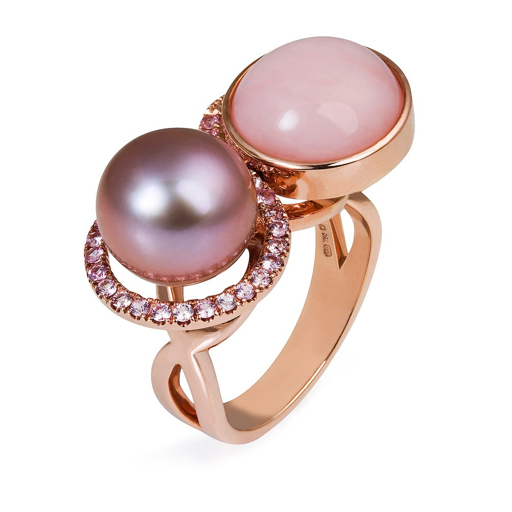 Double Ring – Chocolate Pearl, Pink Opal And Pink Sapphires 18k Rose Gold