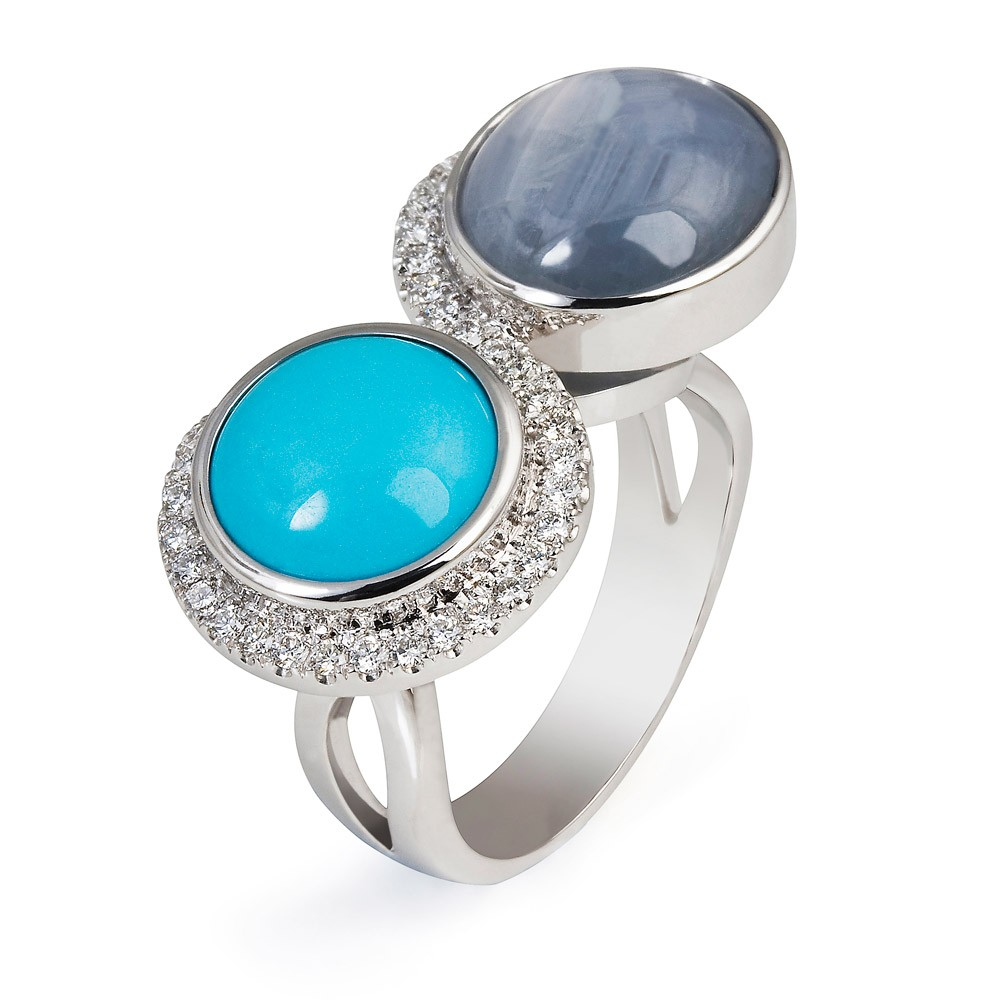 Double Ring – Turquoise, Star Sapphire And Diamonds 18k White Gold