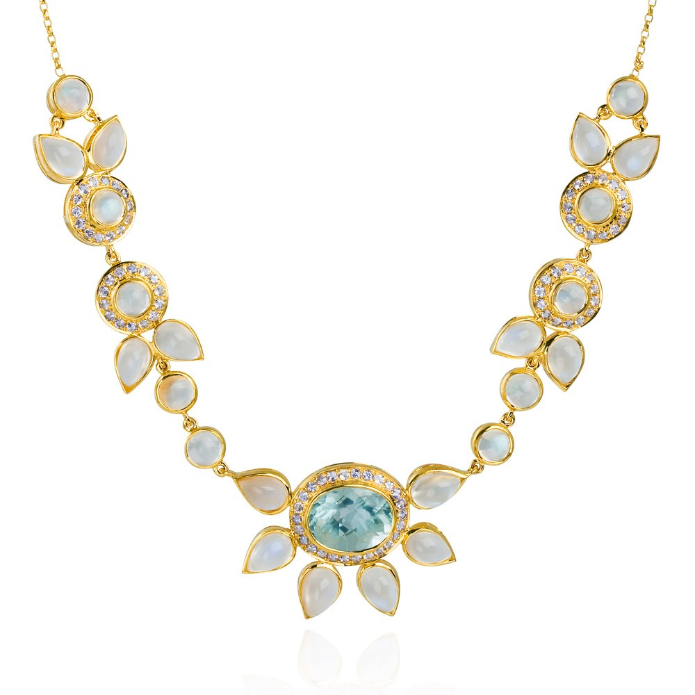 Eastern Star Necklace – Aquamarine, Tanzanite And Moonstone 18k Gold