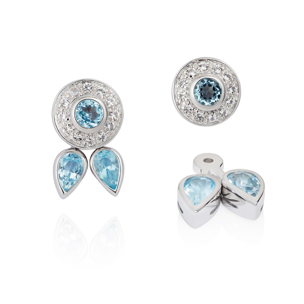 Eastern Star Sterling Silver Earrings – Blue And White Topaz