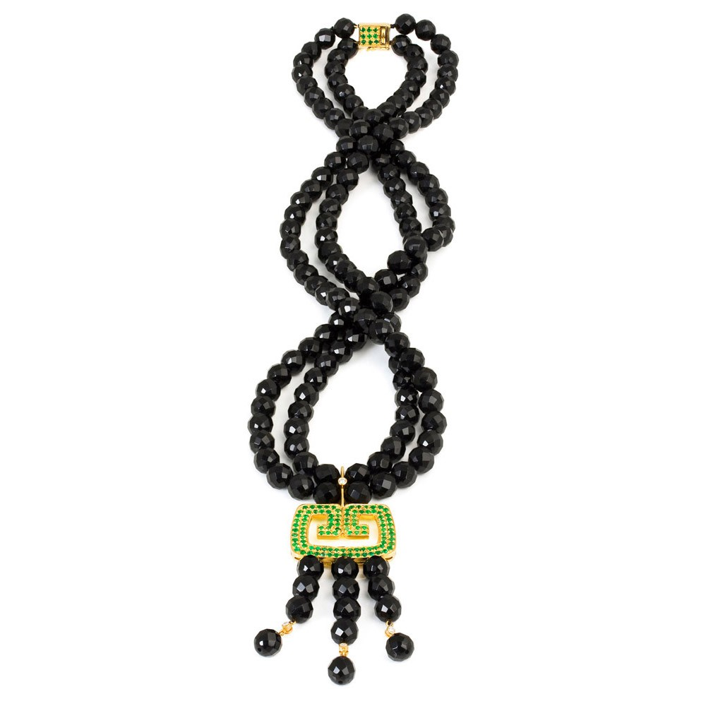 Hidden Dragon Necklace – Emeralds And Onyx 18k Gold