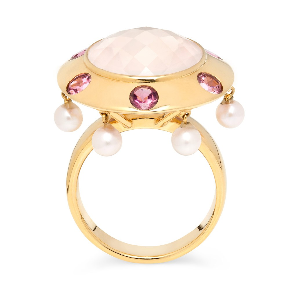 Lantern Ring – Pink Tourmalines, Rose Quartz And Baby Pearls 18k Gold