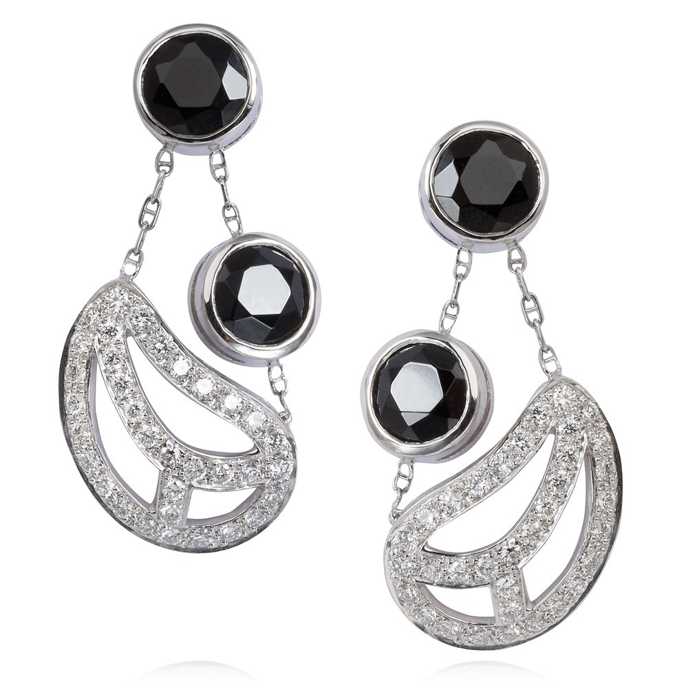 Diamond Leaf Earrings – Black Spinel And Diamonds 18k White Gold
