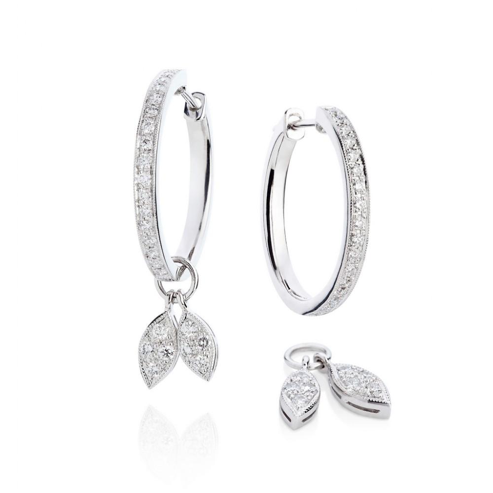 Diamond Leaf Earrings – Diamond 18k White Gold