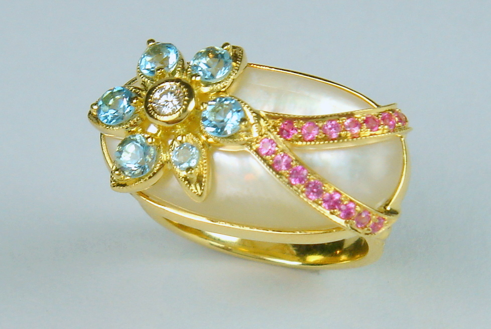 Shimmer Ring – Aquamarines, Pink Sapphires And Diamond Over A Mother Of Pearl Cabochon 18k Gold