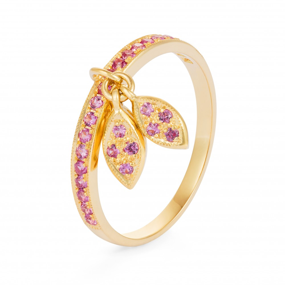 Diamond Leaf Ring – Pink Sapphires 18k Gold