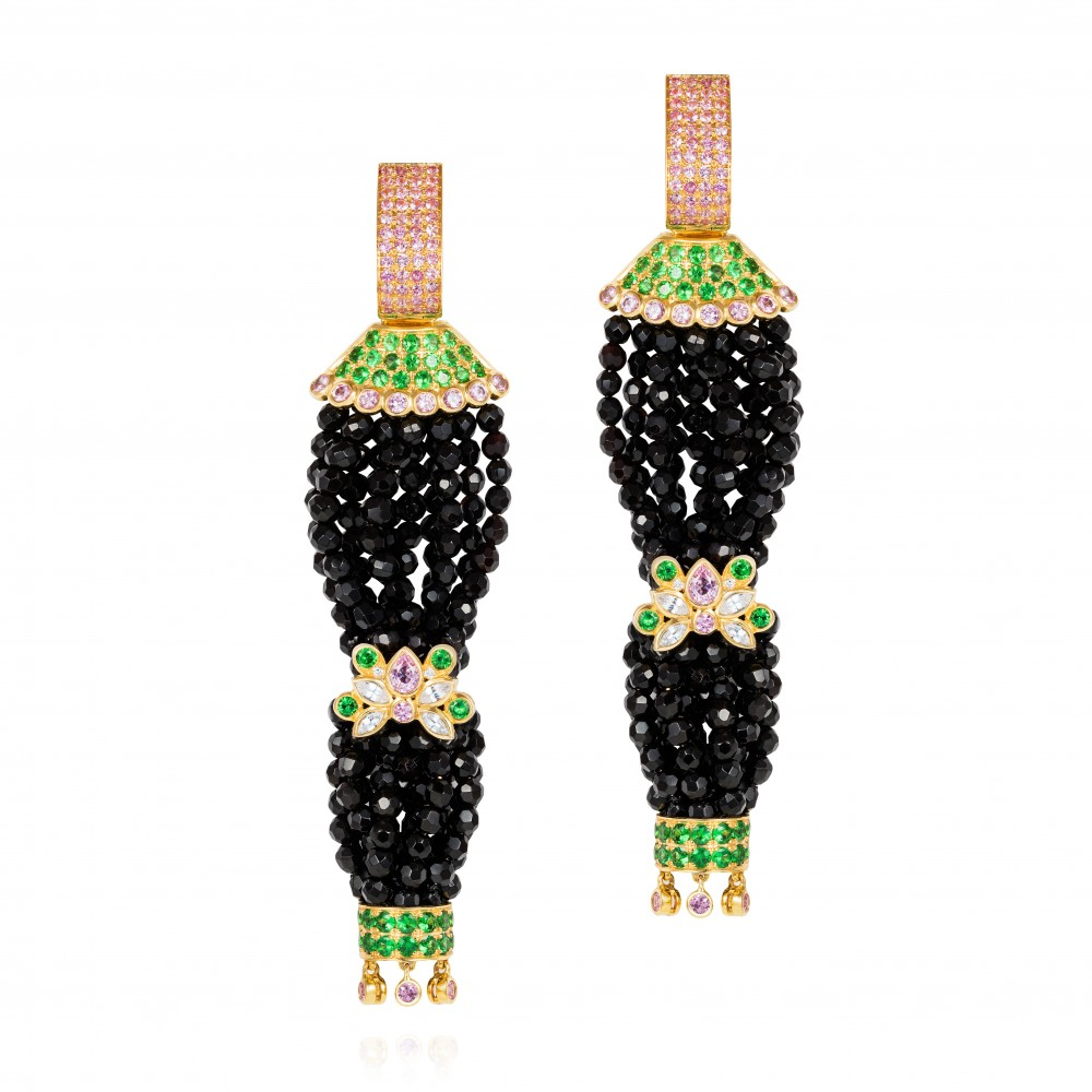 Pagoda Earrings – Pink Sapphires, Tsavorite Garnets, White Sapphires And Diamonds On Faceted Onyx Beads 18k Gold