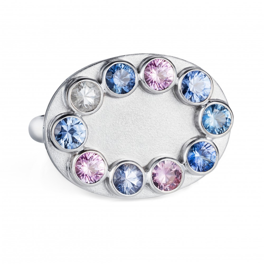 Wish Ring – Fancy Sapphires In18k White Gold