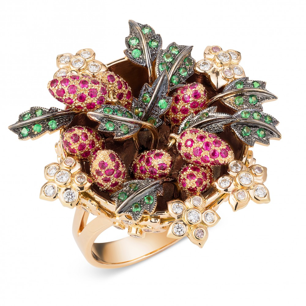 Wild Strawberry Ring – Tsavorite Garnets, Rubies, Pink And White Diamonds 18k-rose-gold