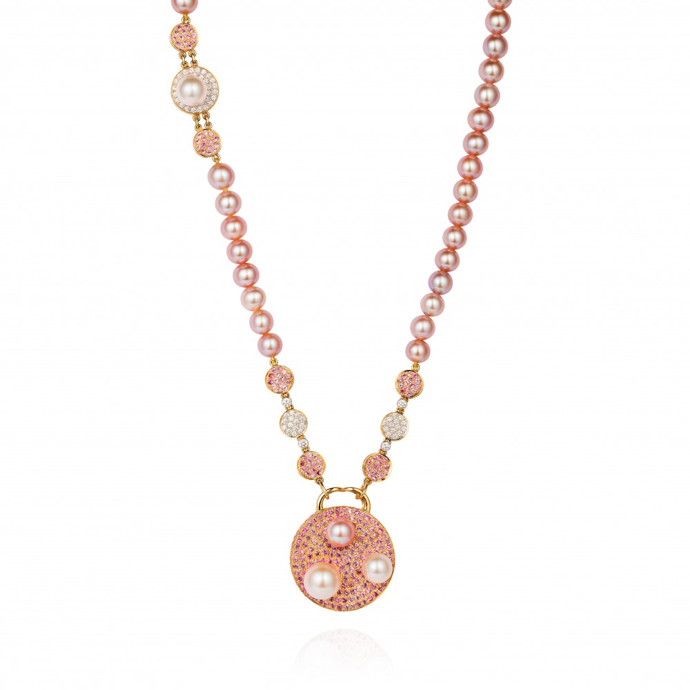 Saengduan Disc Necklace – Pink Sapphires, Fancy Pearls And Diamonds 18k Gold