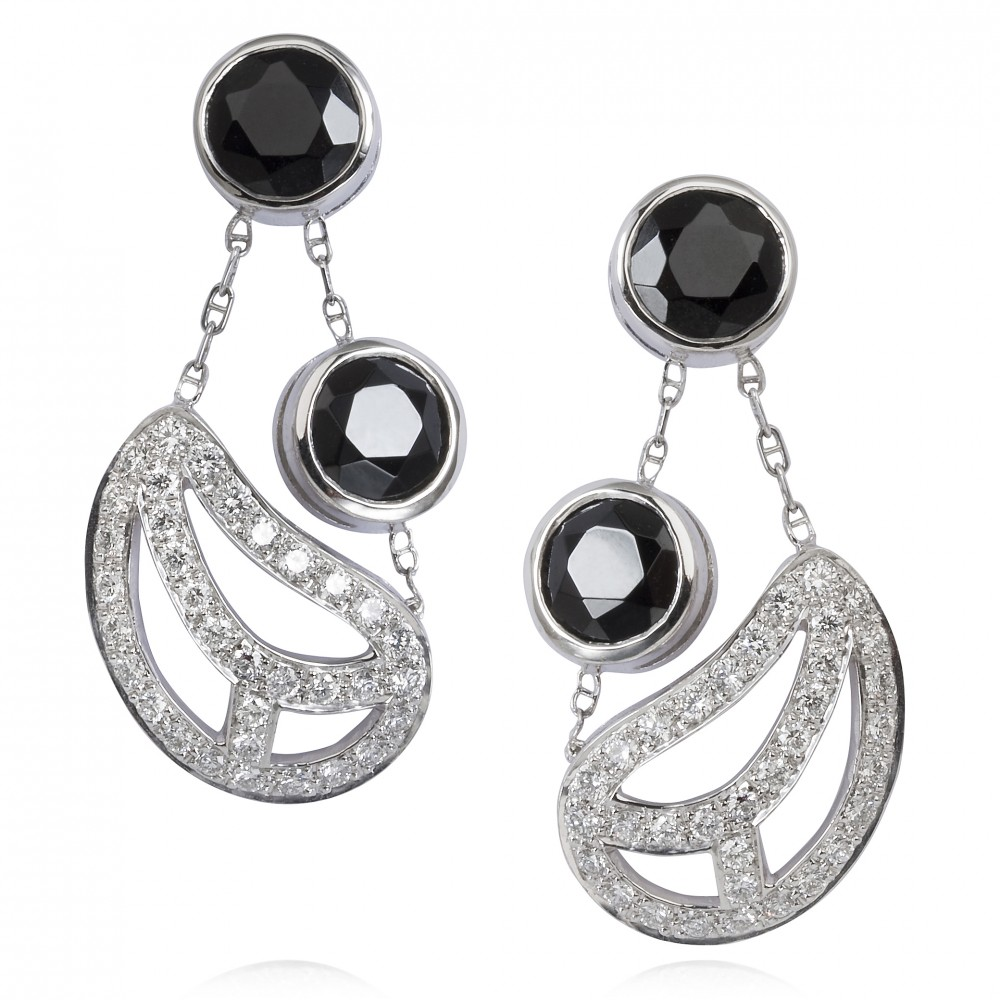 Diamond Leaf Earrings – Black Spinel And Diamonds In 18k White Gold