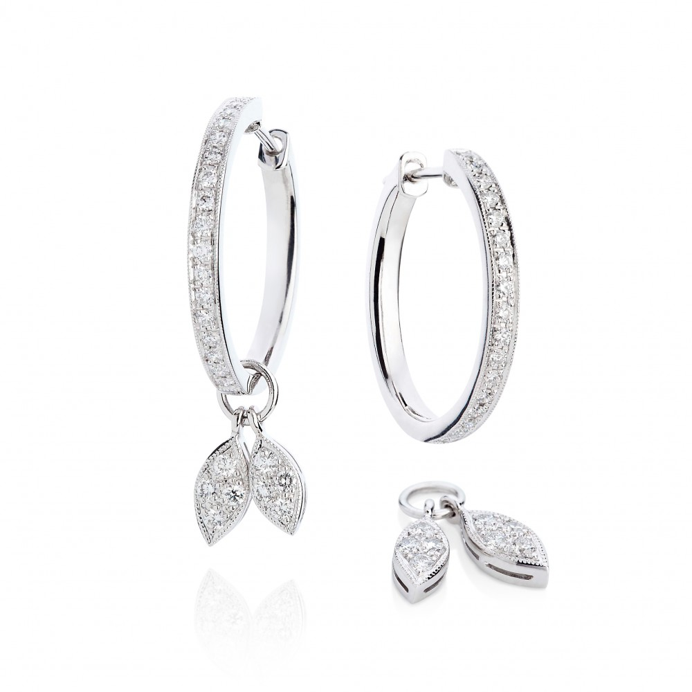 Diamond Leaf Earrings – Diamonds In 18k White Gold