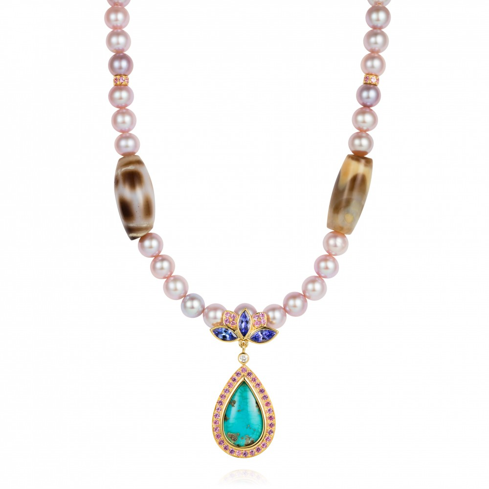 Blue Lotus Necklace Set With Antique Tibetan Zri Beads, Antique Tibetan Turquoise, Tanzanite, Diamond And Pale Pink Sapphires In 18k Gold With Fancy Coloured Pearls