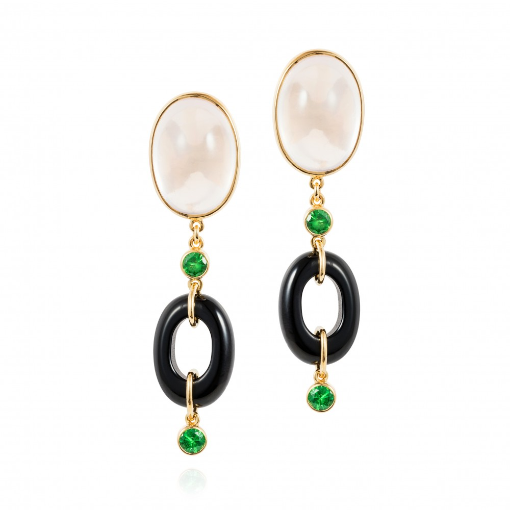 Dolce Vita Earrings – Rose Quartz, Tsavorite Garnet And Onyx 18k Gold