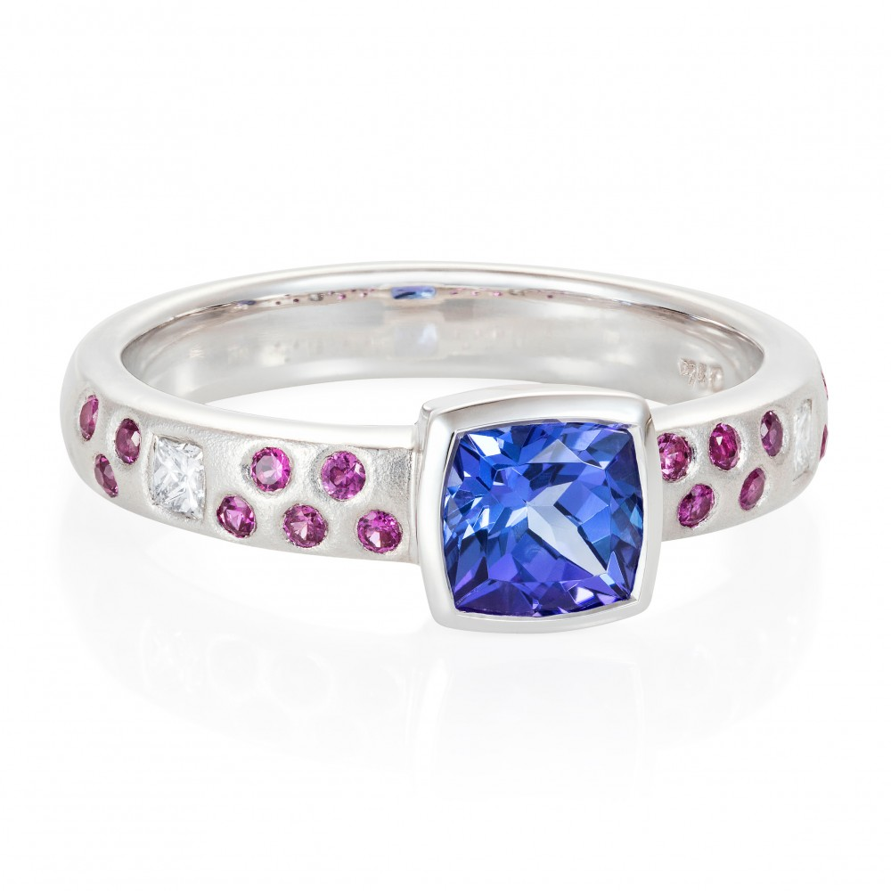 Tanzanite, Hot Pink Sapphire And Diamond Ring 18k White Gold