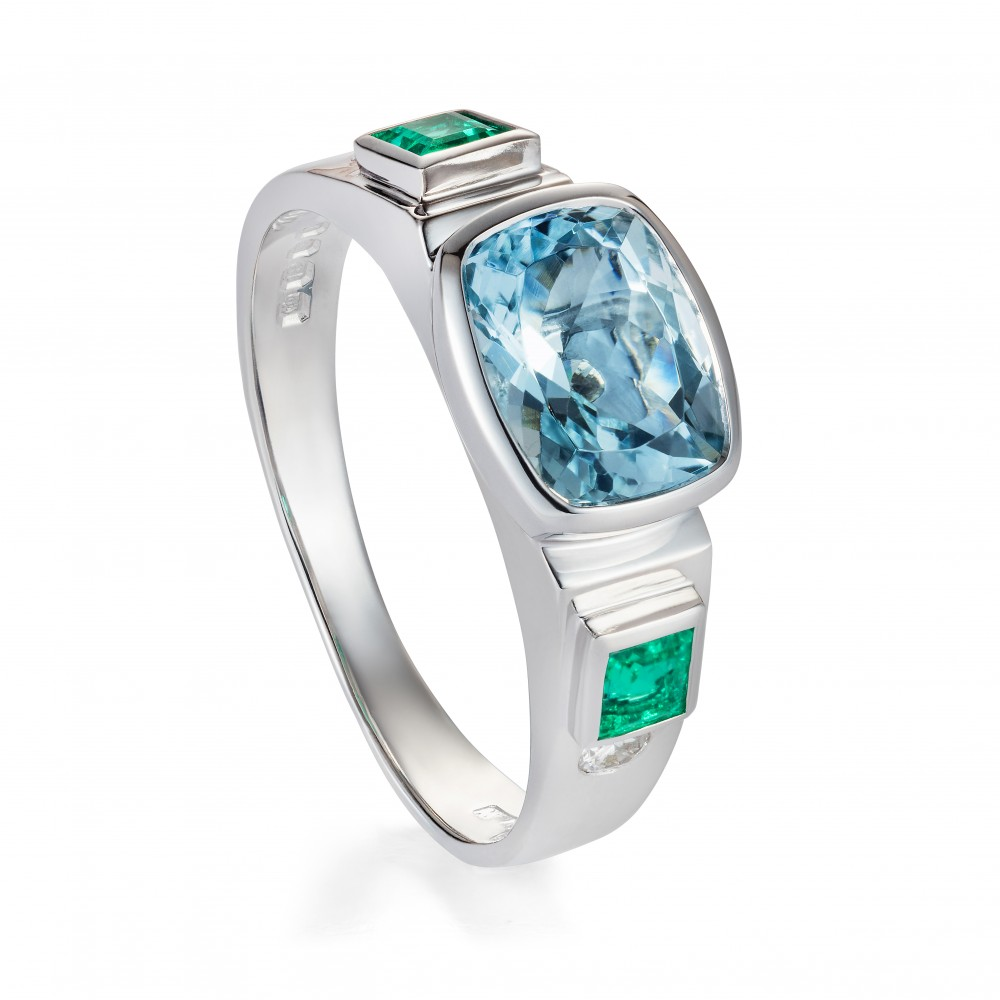 Aquamarine, Emerald And Diamond Ring 18k White Gold