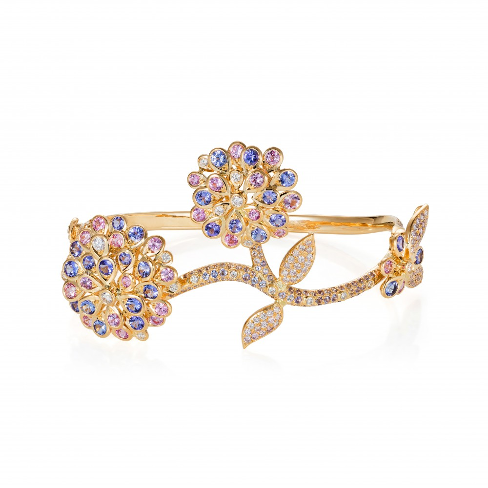 Shimmer Bangle – Tanzanite, Pink Sapphire, Pink And White Diamonds In 18k Gold