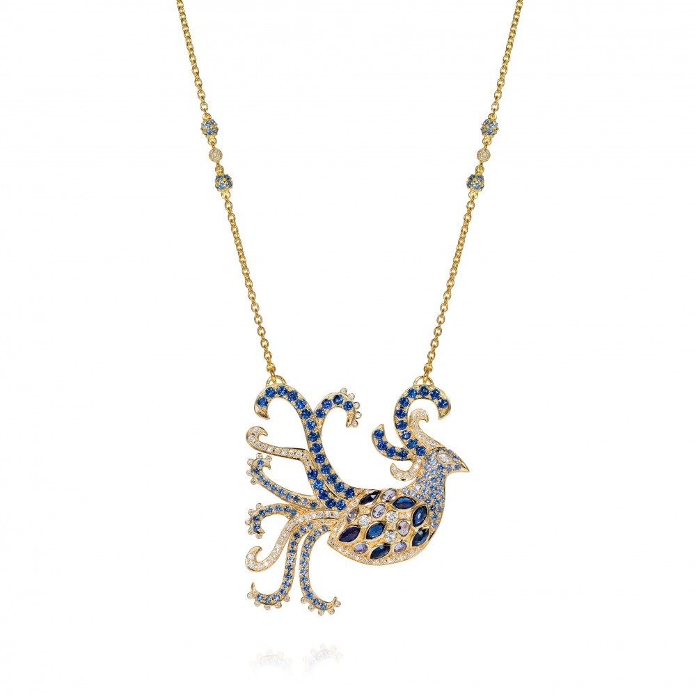 A Truly Touching Commission Made To Accompany A Proposal Of Marriage – Fantasy Bird Necklace Set With Sapphires, Tanzanite And Diamonds In 18k Gold