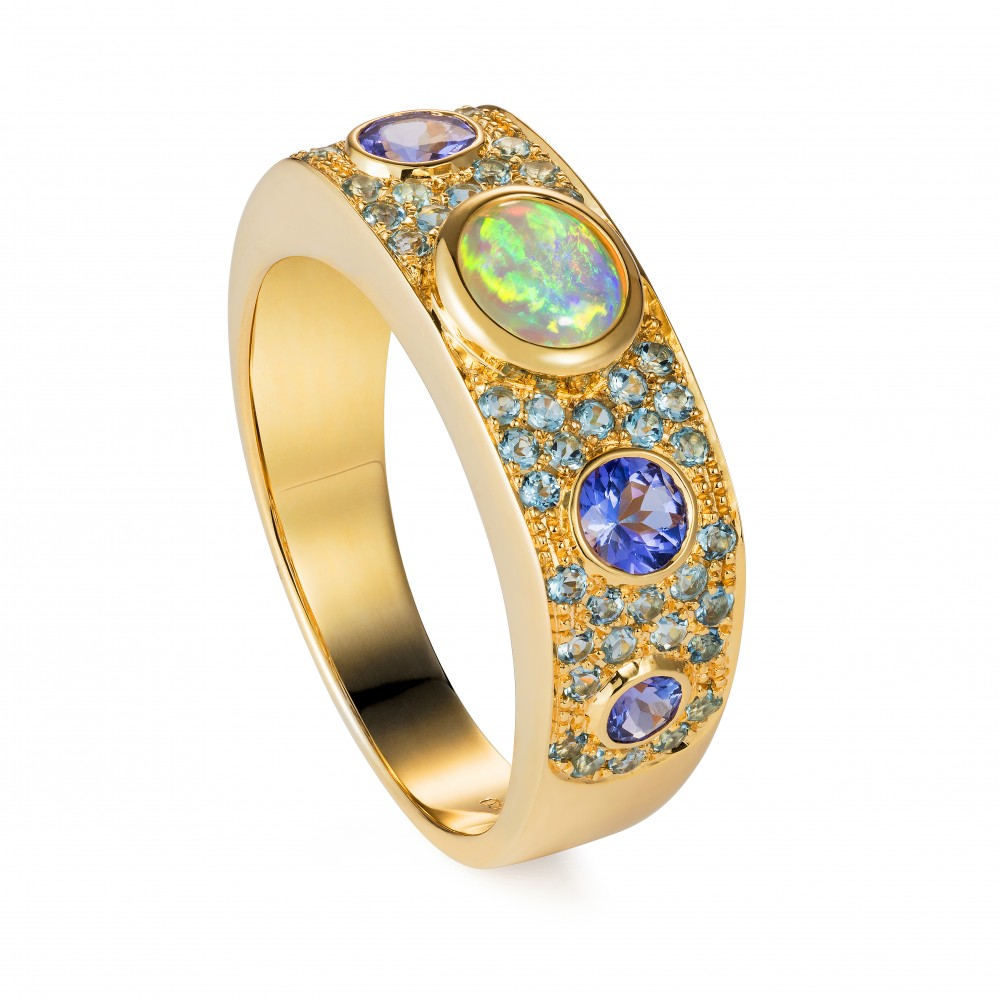 A Ring In The Caribbean Spirit Set With An Antique Opal, Tanzanite And Aquamarines 18k Gold