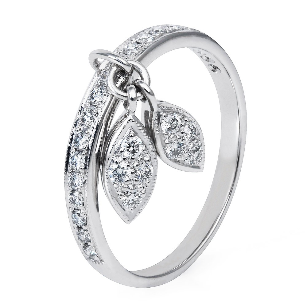 Diamond Leaf Ring  – Diamonds 18k White Gold