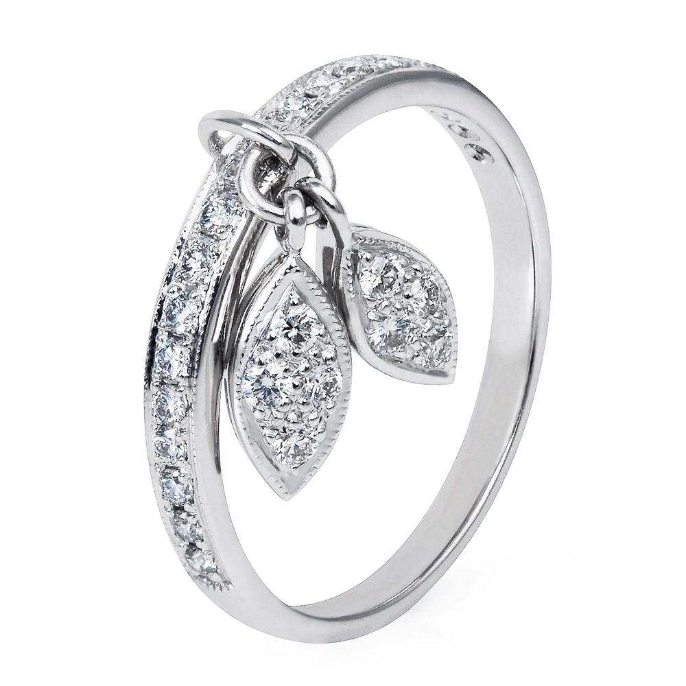 Diamond Leaf Ring  – Diamonds 18k White Gold