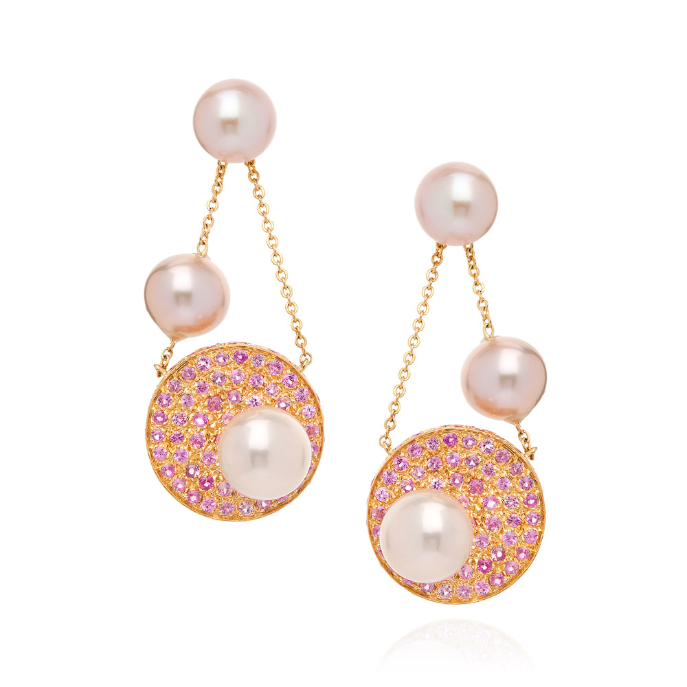 Saengduan Disc Earrings – Pink Sapphires And Fancy Pearls 18k Gold