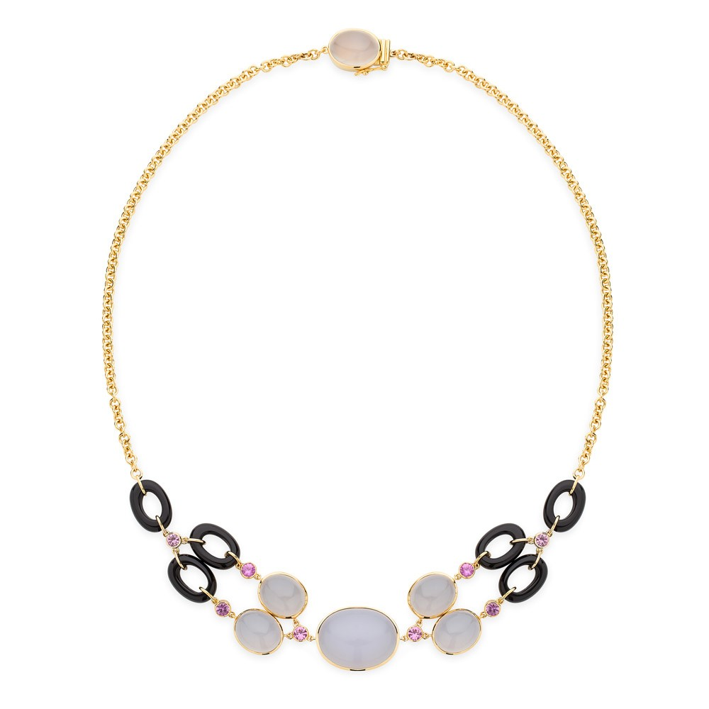 Dolce Vita Necklace – Blue Chalcedony, Pink Sapphires And Onyx 18k Gold