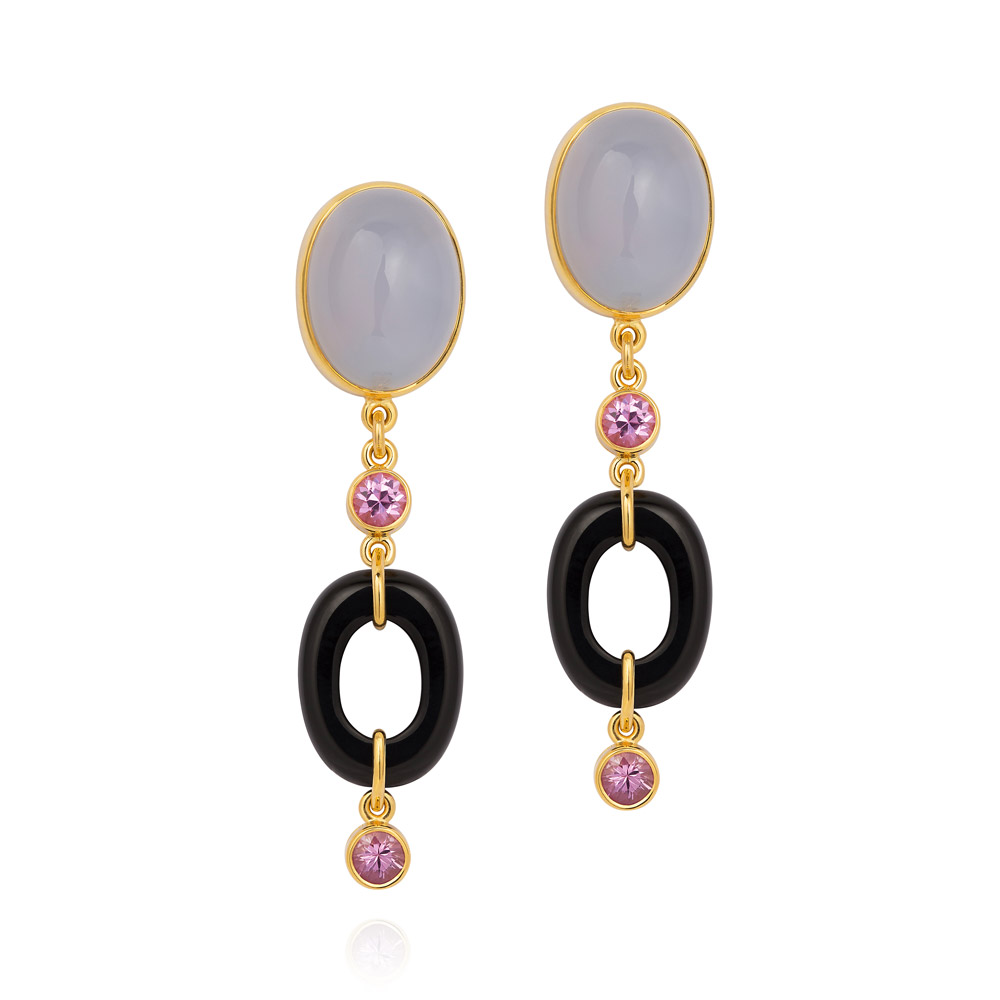 Dolce Vita Earrings – Blue Chalcedony, Pink Sapphires And Onyx 18k Gold