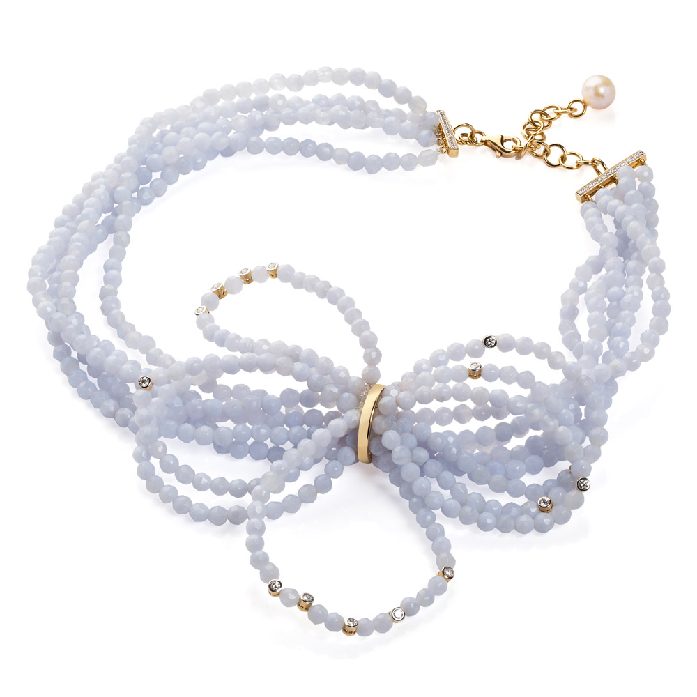 Dream Necklace – Blue Chalcedony, Diamonds And Pearl 18k Gold