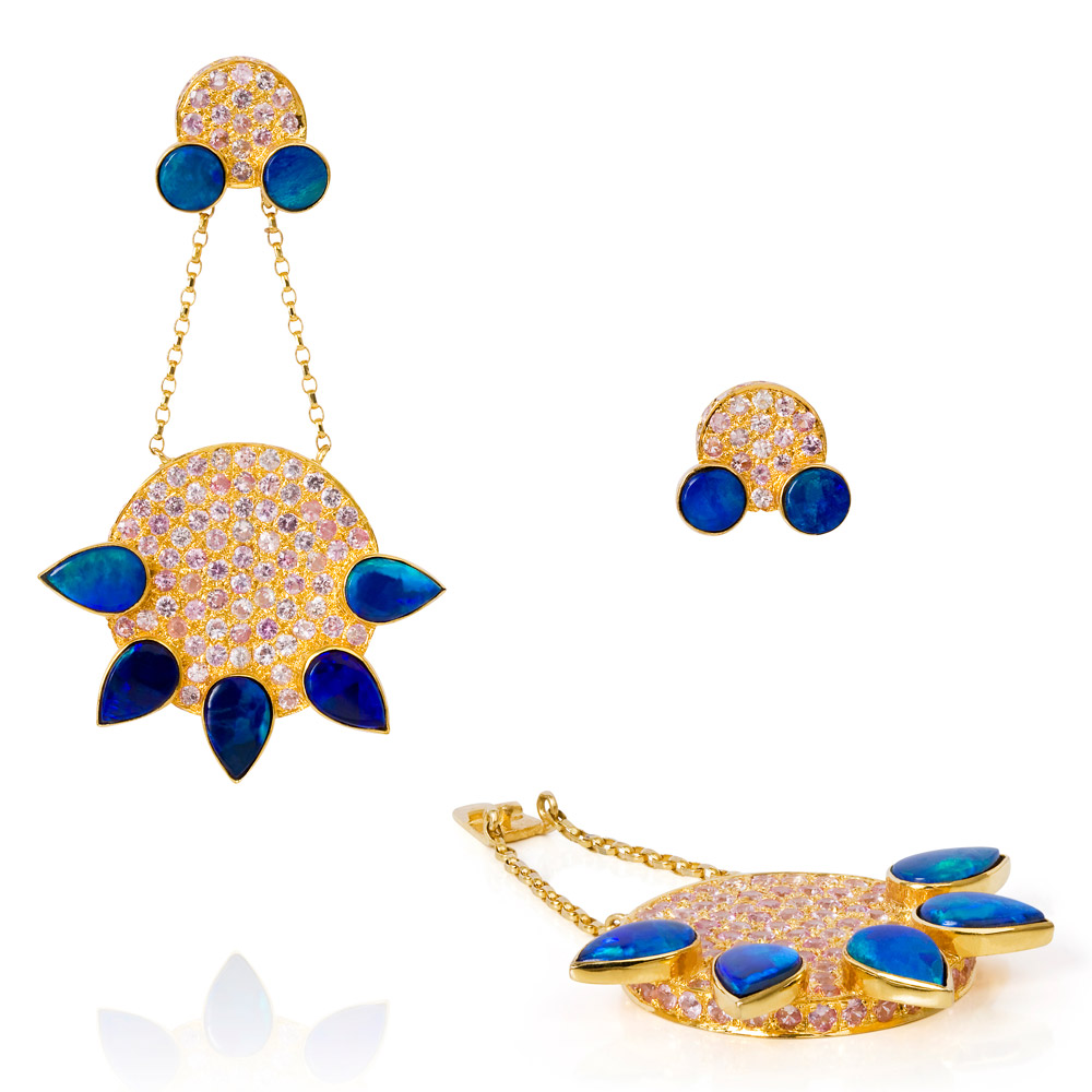 Eastern Star Earrings – Opals And Pale Pink Sapphires 18k Gold