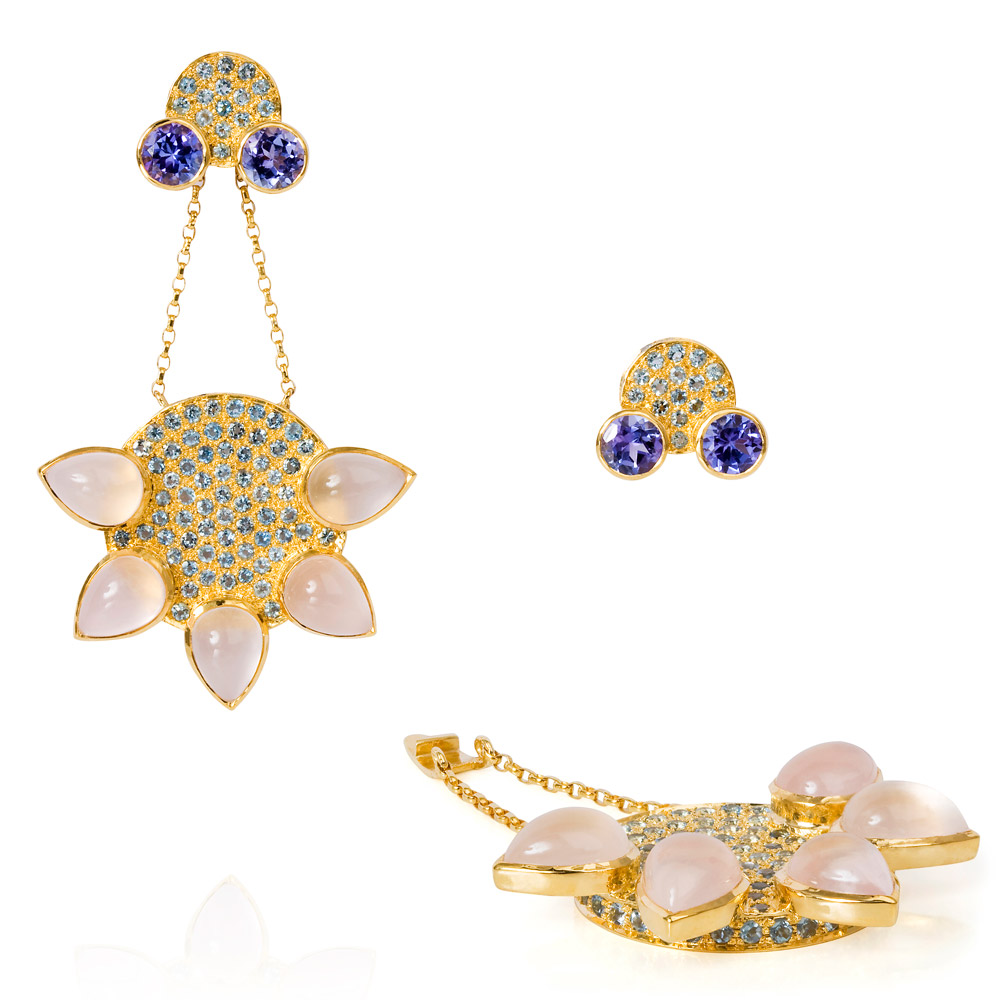Eastern Star Earrings Set With Tanzanite, Aquamarine And Rose Quartz 18k Gold