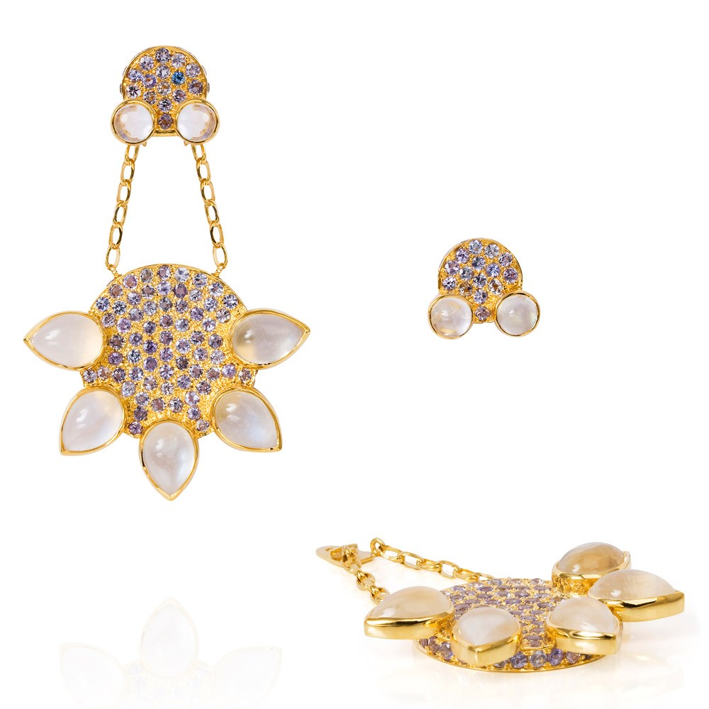 Eastern Star Earrings – Tanzanite And Moonstone 18k Gold