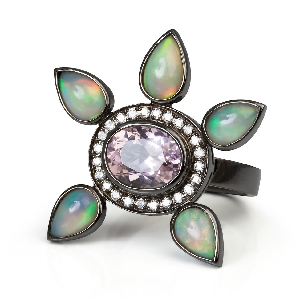 Eastern Star Ring – Pink Tourmaline, Diamonds And Opals 18k Blackened Gold