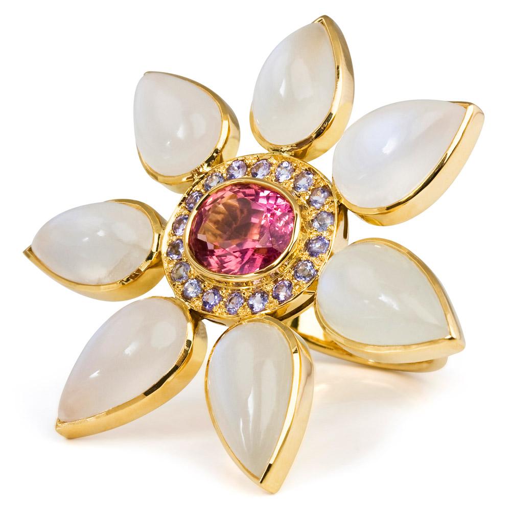 Eastern Star Ring – Pink Tourmaline, Tanzanite And Labradorite 18k Gold