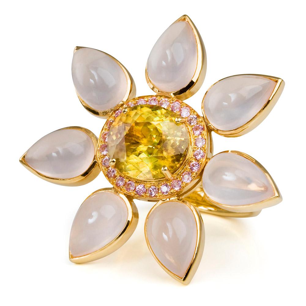 Eastern Star Ring – Sphene, Pale Pink Sapphires And Rose Quartz 18k Gold