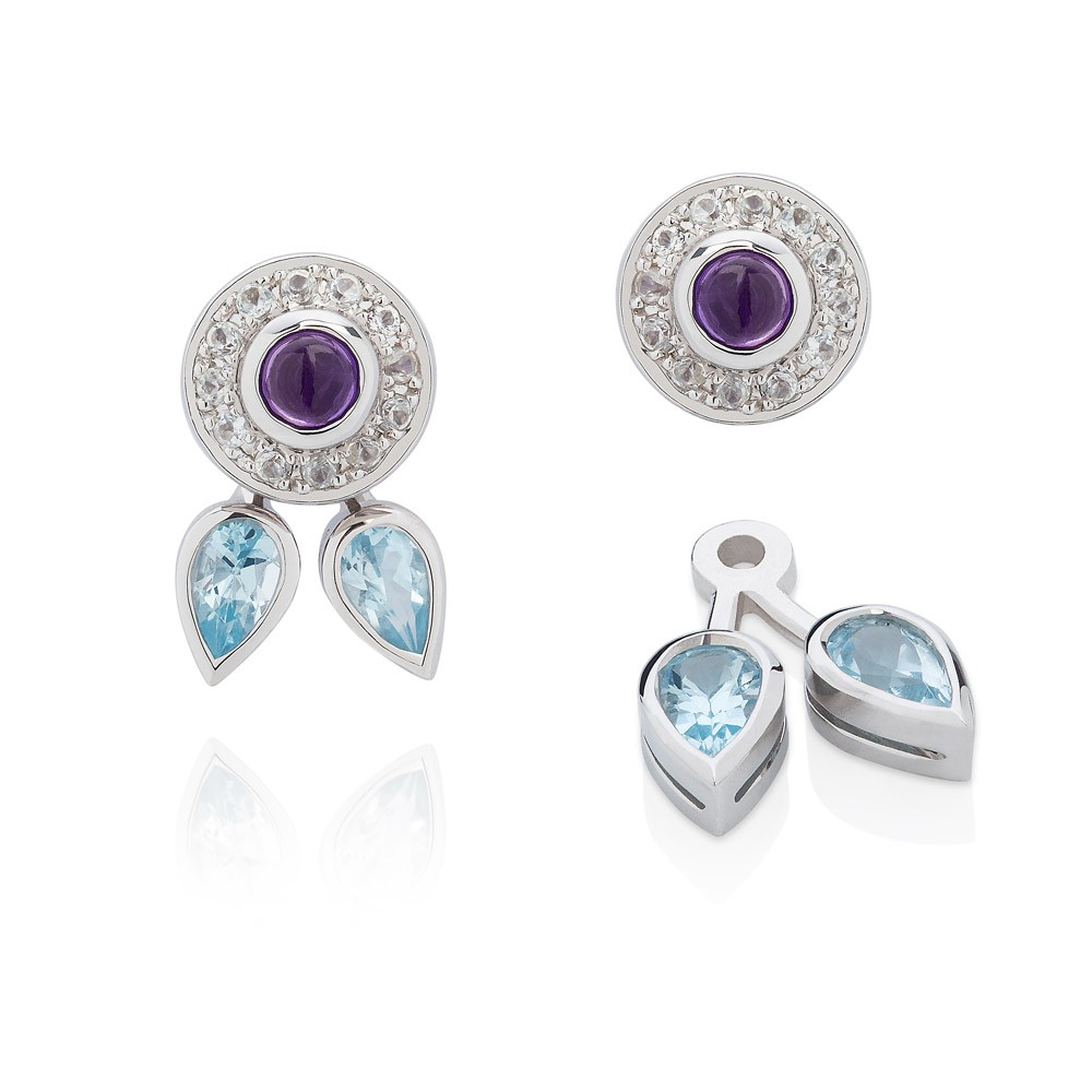 Eastern Star Sterling Silver Earrings – Amethyst, Blue And White Topaz