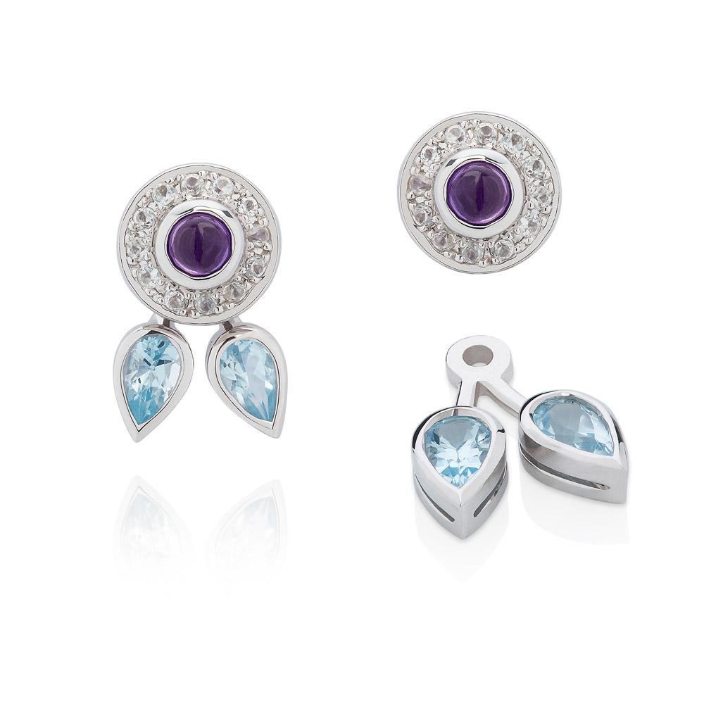 Eastern Star Sterling Silver Earrings – Amethyst, Blue And White Topaz