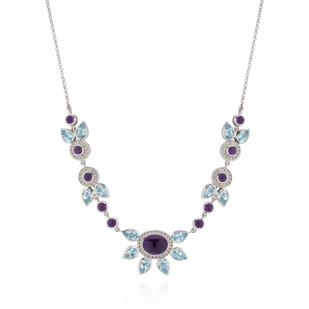 Eastern Star Sterling Silver Necklace – Amethyst, Blue And White Topaz