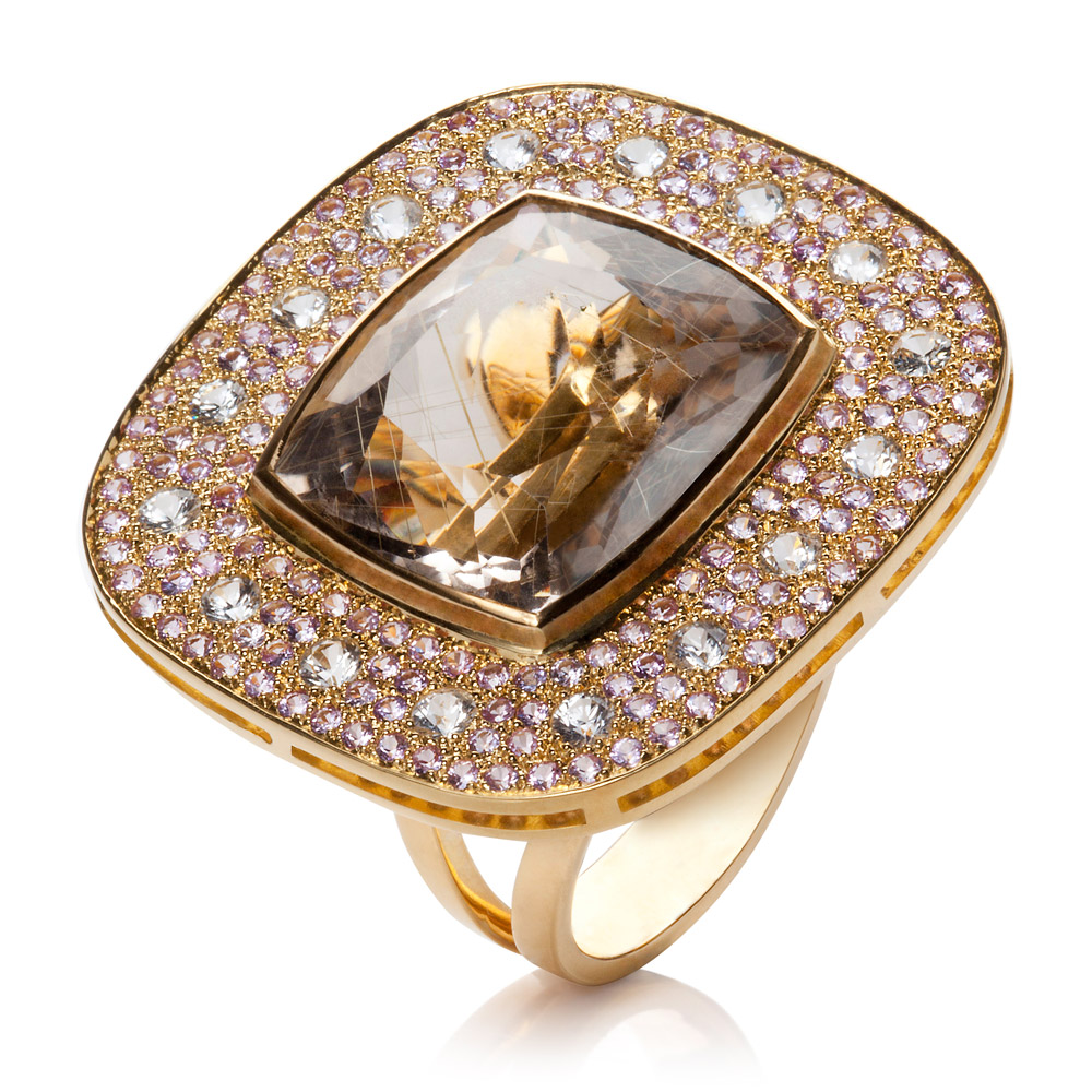 Happy Ring – Rutilated Quartz, Pale Pink And White Sapphires 18k Gold