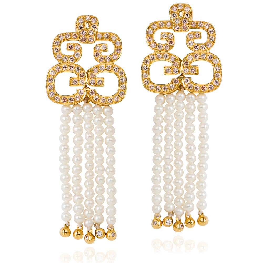 Hidden Dragon Earrings – Pink Diamonds And Baby Pearls 18k Gold