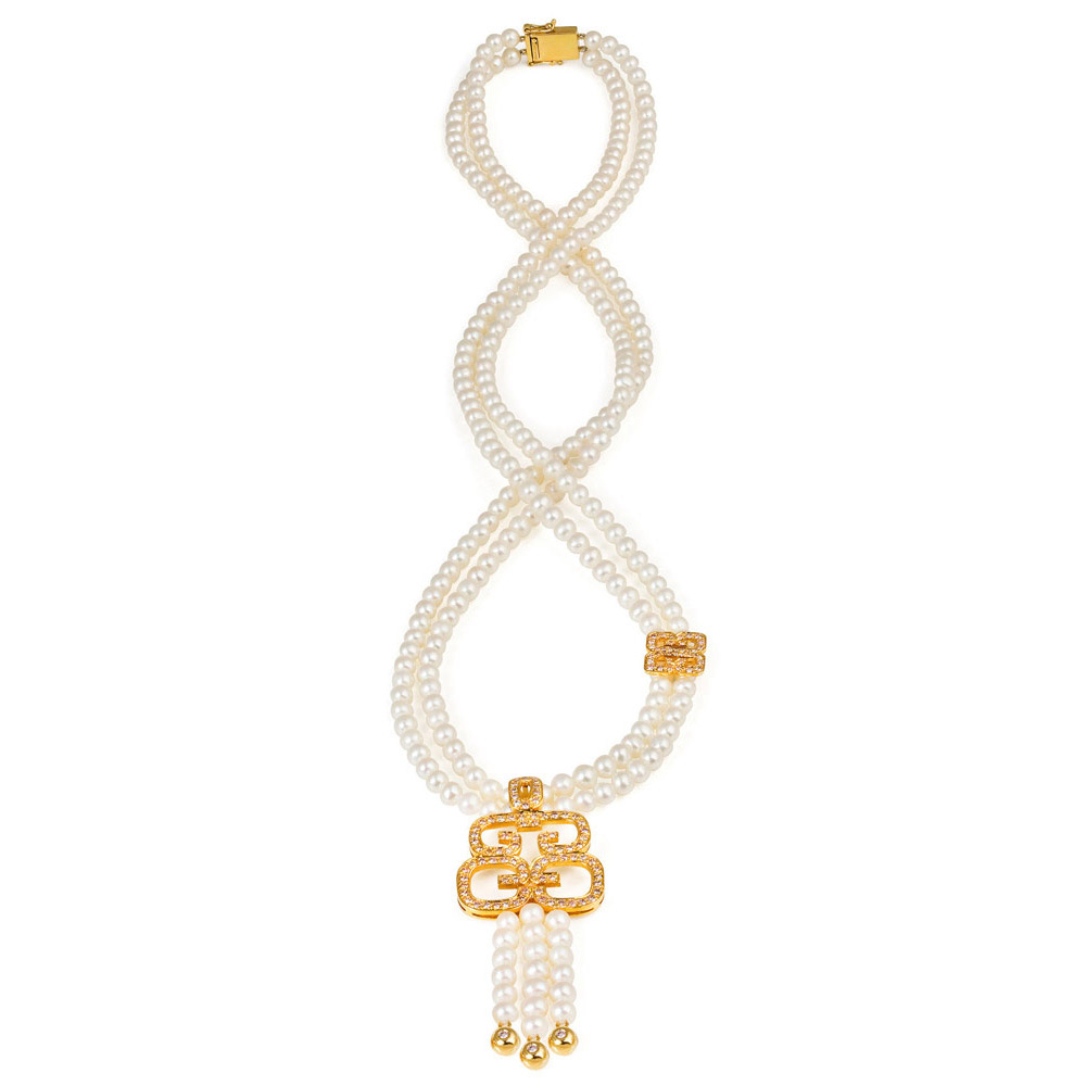 Hidden Dragon Necklace – Pink Diamonds And Pearls 18k Gold