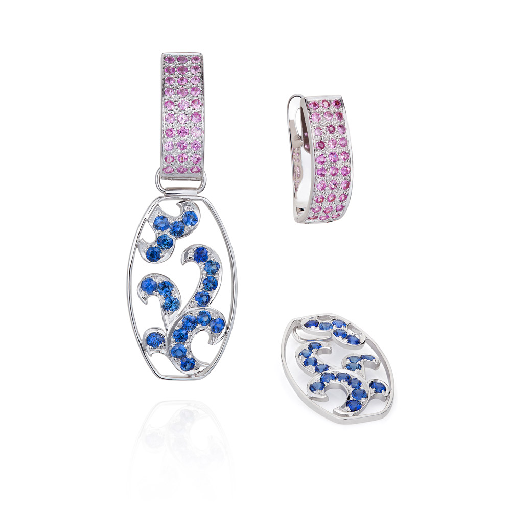 Lace Earrings – Blue And Pink Sapphires 18k Gold