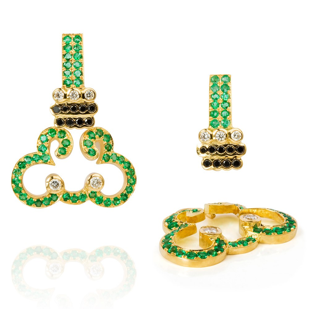 Lace Earrings – Emeralds, Black And White Diamonds 18k Gold