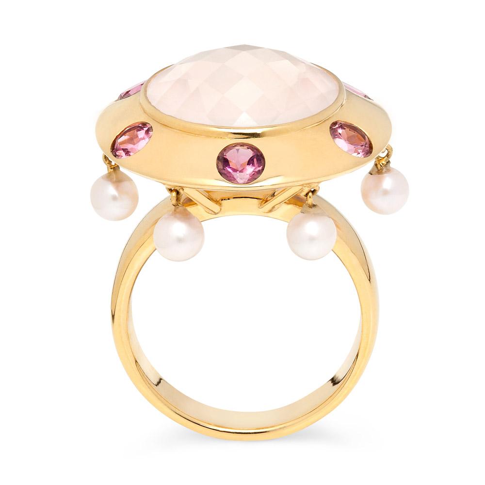 Lantern Ring – Pink Tourmalines, Rose Quartz And Baby Pearls 18k Gold