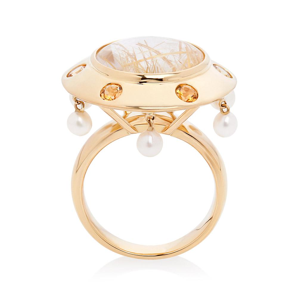 Lantern Ring – Rutilated Quartz, Yellow Tourmalines And Baby Pearls 18k Gold