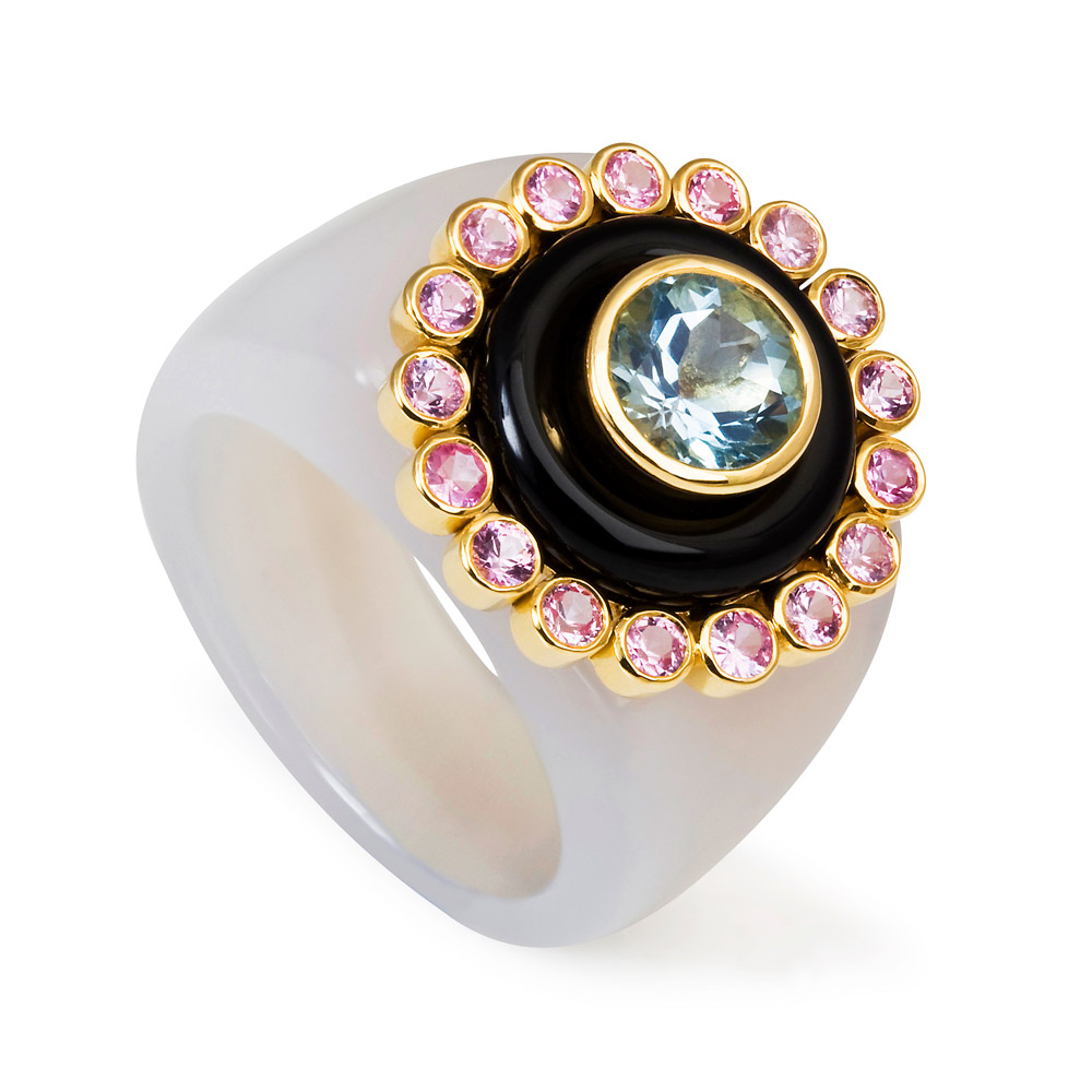 Princess Of The Woods Agate Ring – Aquamarine, Pale Pink Sapphires And Onyx 18k Gold